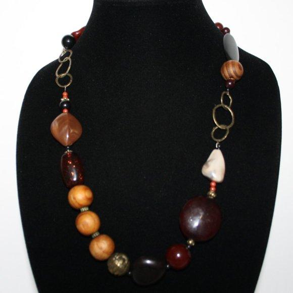 "Beautiful boho bronze amber wooden necklace 24"""